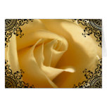 Blank Inside Yellow Rose Fancy Black Customizable