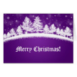 Christmas Greeting Cards Purple And White Winter