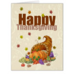 Giant Thanksgiving With Cornucopia & Pumpkin Card