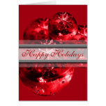 Happy Holidays Christmas Xmas Red Ornament Fancy Card