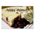 Shavuot Card With Cherry Cheescake And Cream